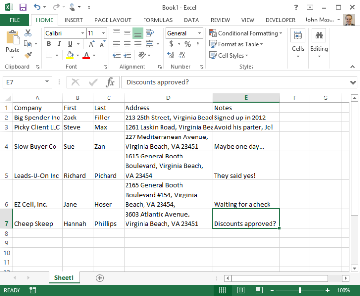 Screenshot of Excel File